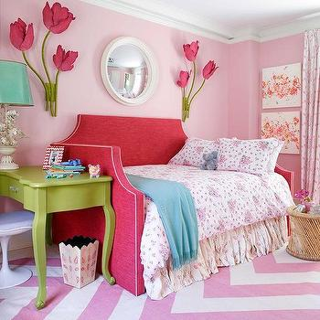Kids Room with Red Daybed, Contemporary, Girl's Room, Benjamin Moore Rosetone