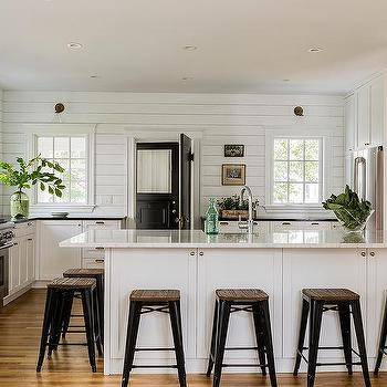 White Cottage Kitchen Black Accents Design Ideas