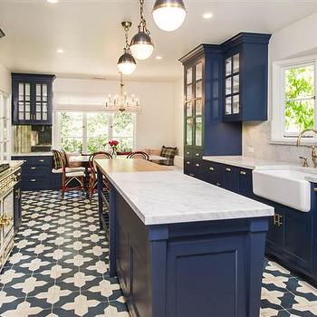 blue moroccan tile kitchen runner design ideas