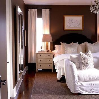 Gray bedroom with black and white photo wall for Brown and cream bedroom