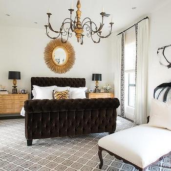 Brown Velvet Tufted Sleigh Bed, Transitional, Bedroom