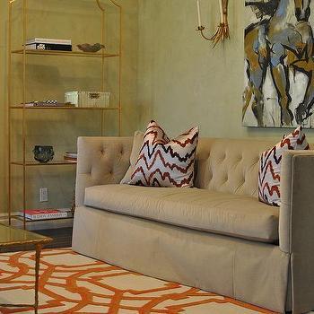 Camel Velvet Tufted Sofa with High Back, Contemporary, Living Room