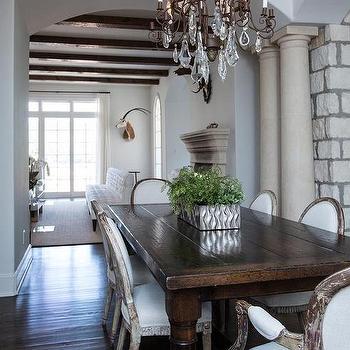 Whitewashed Dining Room Columns Design Ideas