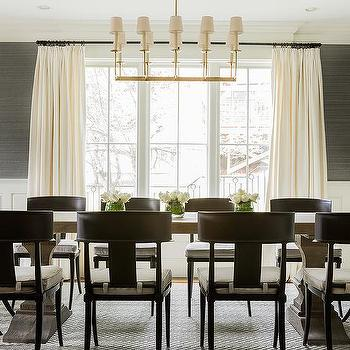 Dining Room With Grasscloth And Wainscoting