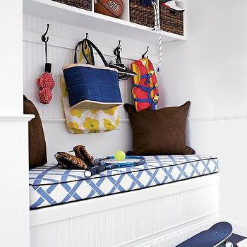 Mudroom Bench with Beadboard Trim Under Overhead Cubbies, Cottage, Laundry Room