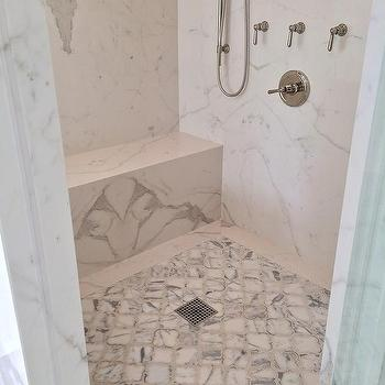 Ordinaire Shower With Quatrefoil Tiled Floor