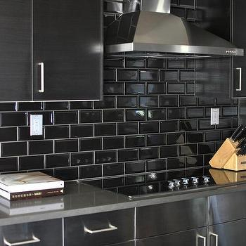 Merveilleux Stainless Steel Kitchen Cabinets With Black Subway Tile Backsplash