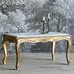 Eloquence One of a Kind Vintage Coffee Table Louis XV Shimmer Gilt