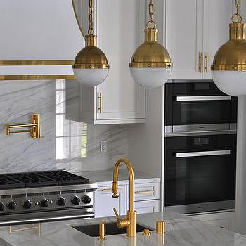 White And Gold Kitchen Hood