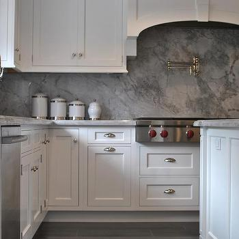 Gray Kitchen With White Marble Floor Design Ideas