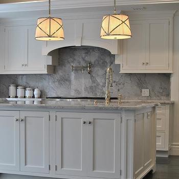 Kitchen With Gray Marble Backsplash