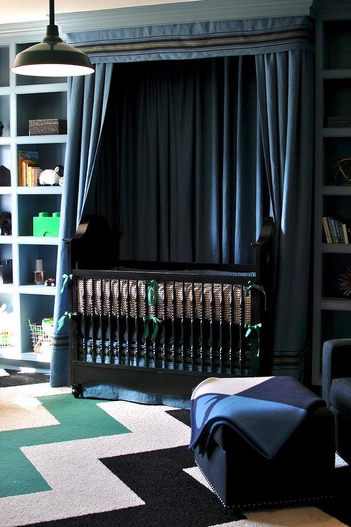 Green Curtains black green curtains : Light Blue Boy Nursery with Yellow Chevron Curtains - Contemporary ...