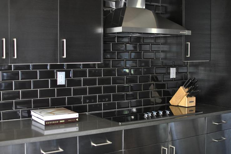 Stainless Steel Kitchen Cabinets With Black Subway Tile Backsplash View Full Size