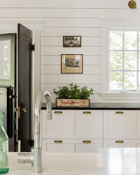 White Kitchen Cabinets With Brass Vintage Pulls Cottage