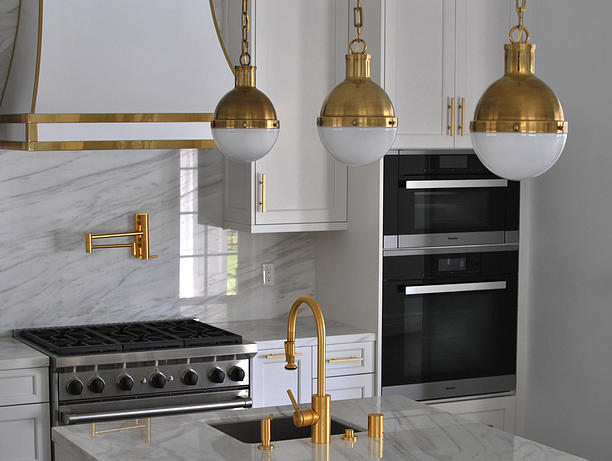 White And Gold Kitchen Hood Contemporary Kitchen