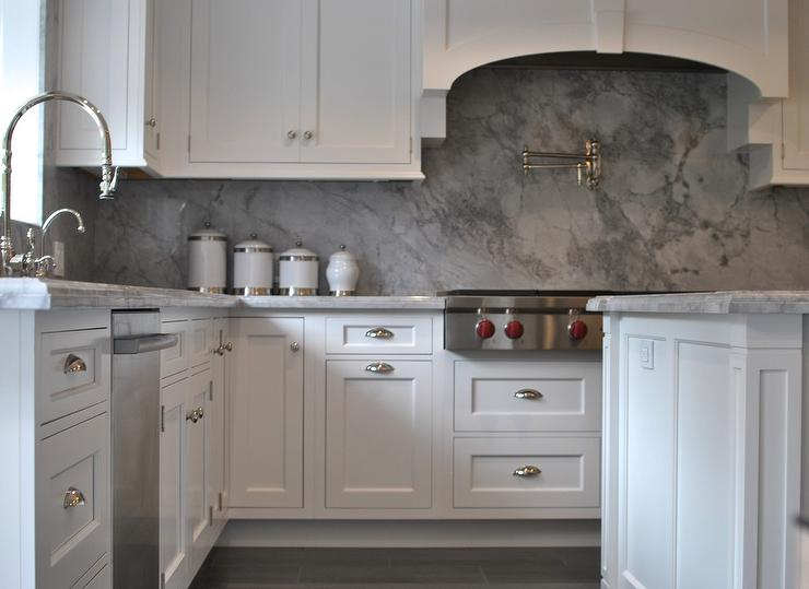 White Kitchen Cabinets With Gray Marble Backsplash Transitional Kitchen