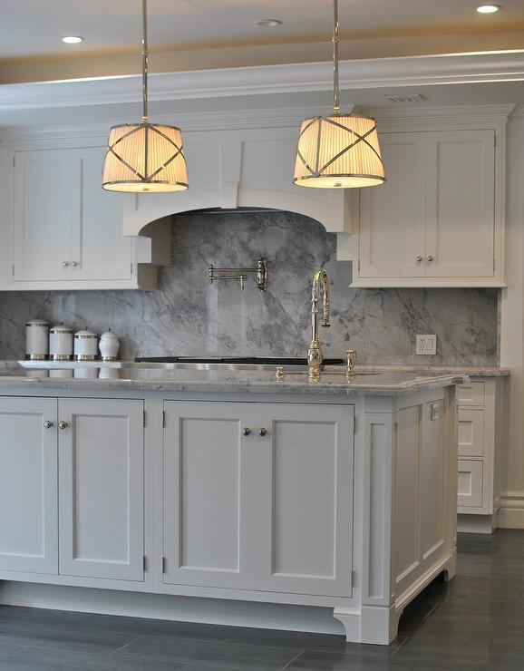 Kitchen Backsplash White Cabinets Gray Countertop white kitchen cabinets with gray marble backsplash - transitional