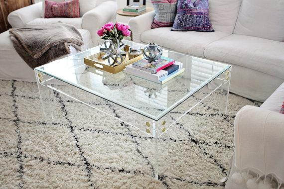 Lucite Clear Acrylic Coffee Table Frame With Brass Accents