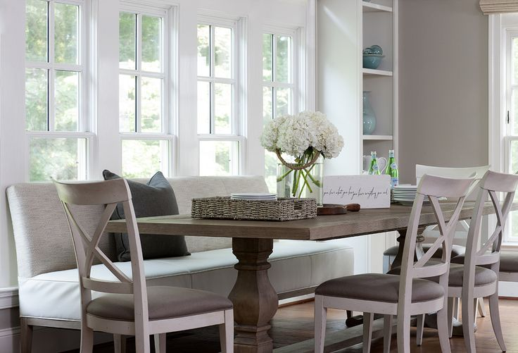 Restoration Hardware Salvaged Wood Rectangular Trestle  : dining table with upholstered bench white x back dining chairs from www.decorpad.com size 736 x 501 jpeg 59kB