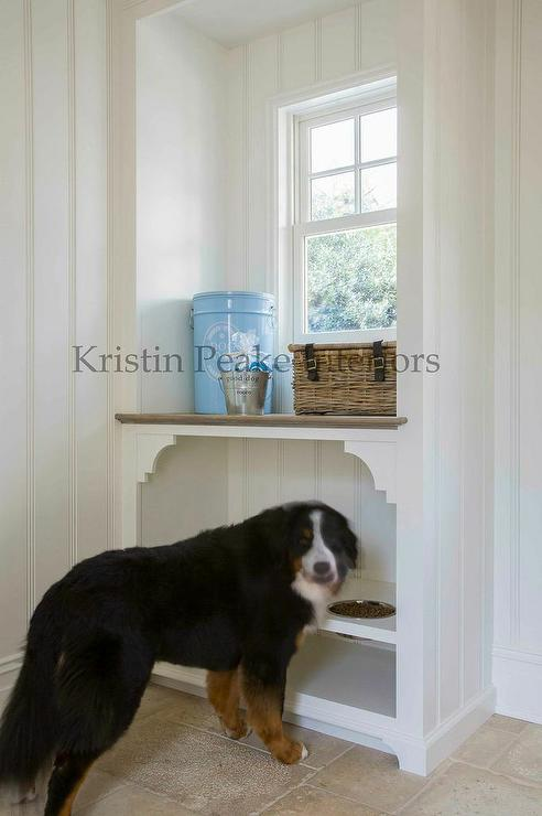 Mudroom With Built In Dog Bowls Transitional Laundry Room