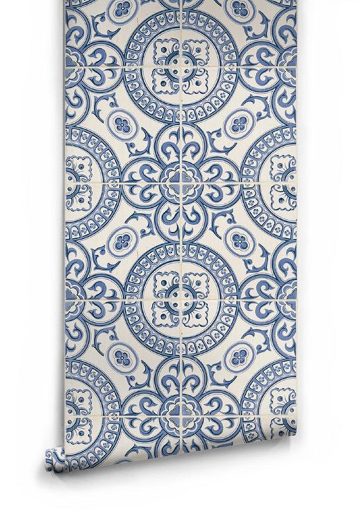 Heritage Tiles Blue And White Wallpaper