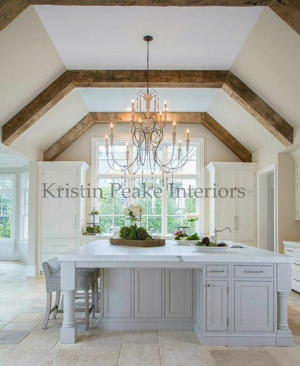 Kitchen Vaulted Ceiling with Wood Beams