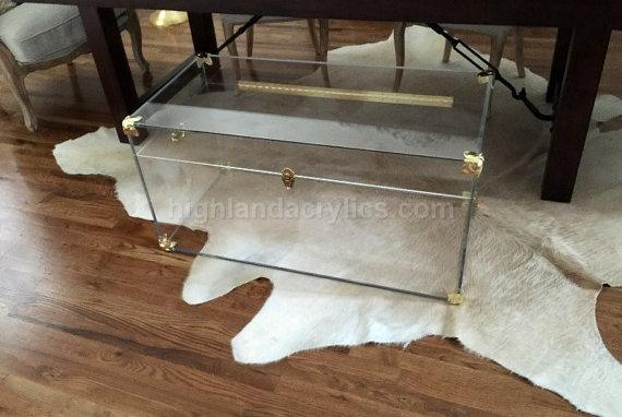Lucite Clear Acrylic Clear Trunk Large Custom Hand Made Trunk