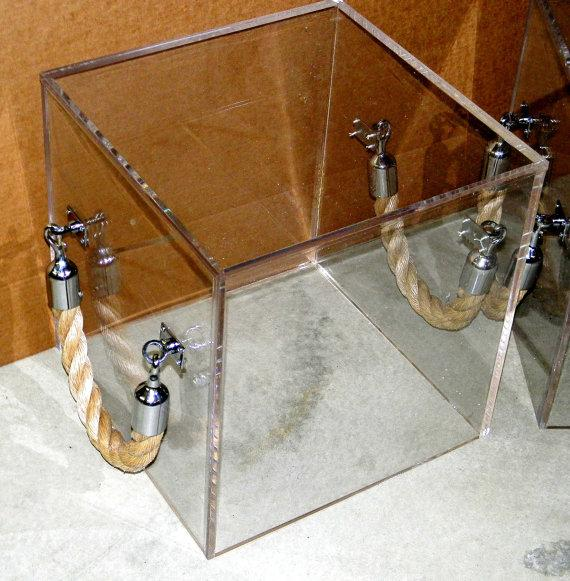 Lucite Clear Acrylic Rope Handled Cube - Acrylic cube side table