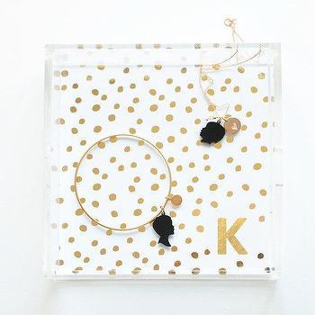 Gold Foil Confetti Lucite Tray