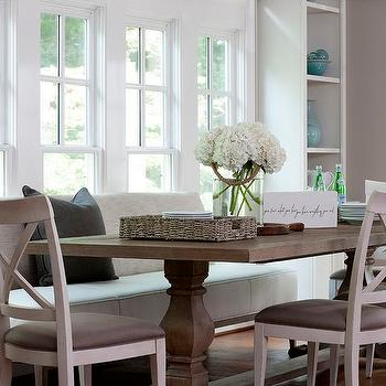Dining Table with Upholstered Bench and Chairs, Transitional, Dining Room