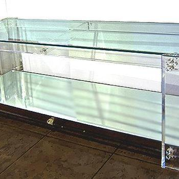 Vintage Acrylic Console Table with Glass Top