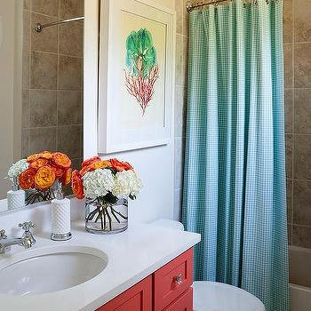 Kids Bathroom With Turquoise Gingham Shower Curtain And Red Washstand