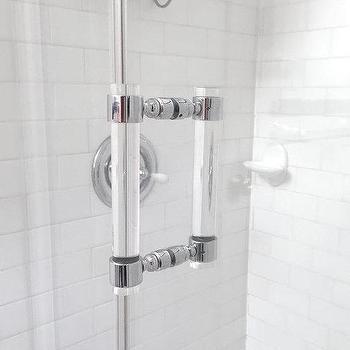 Lucite Shower Door Pull Handles, Chrome or Brass