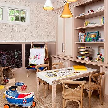 Kids Room with Alphabet Wallpaper and Chalkboard Wainscoting, Transitional, Boy's Room