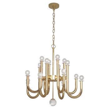 Jonathan Adler Milano Chandelier in Polished Brass design by Robert Abbey