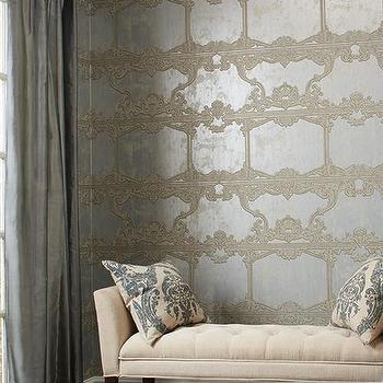 Venetia Wallpaper in Silver by Ronald Redding for York Wallcoverings