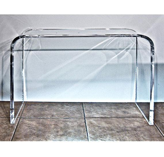 Lucite Clear Table Waterfall Acrylic Console