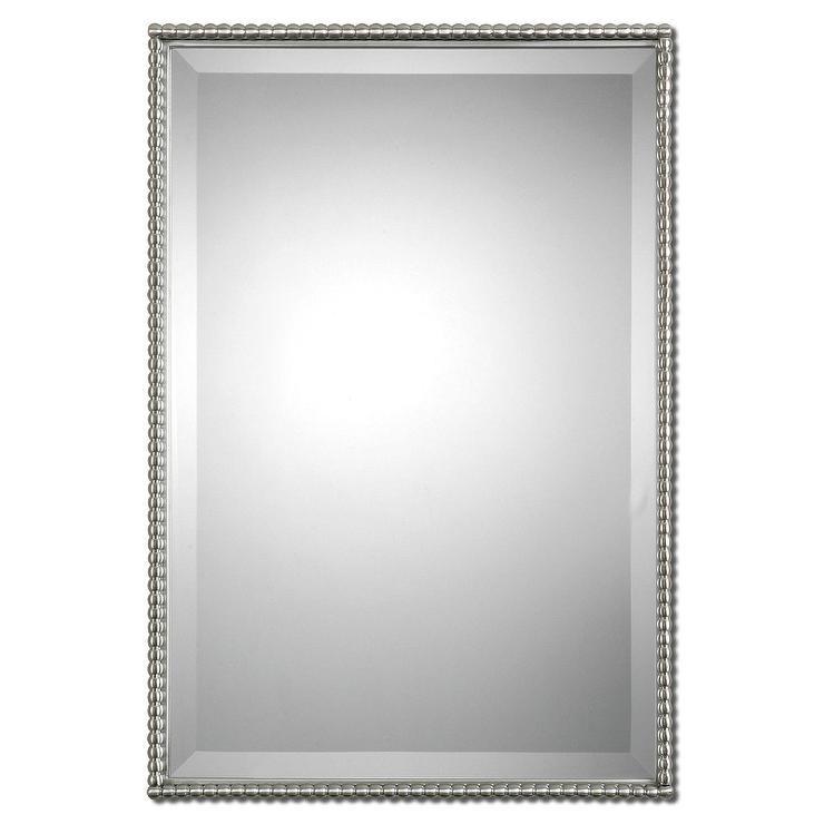 Uttermost Sherise Brushed Nickel Bead Framed Beveled Mirror