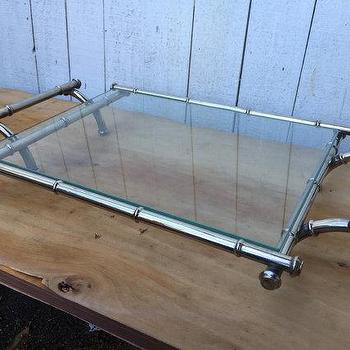 Vintage Hollywood Regency Chrome Faux Bamboo Tray with Glass