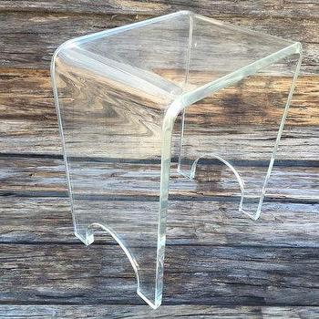 Lucite Waterfall Small Bench Hollywood Regency Lucite End Table