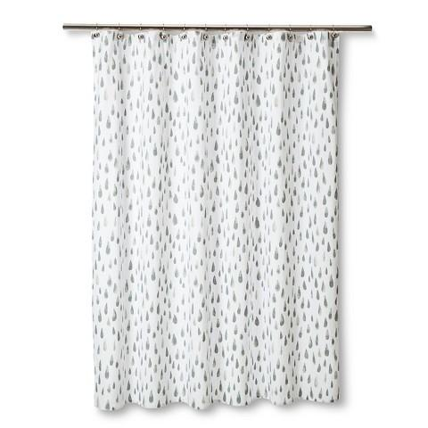 Nate Berkus Watercolor White And Gray Shower Curtain