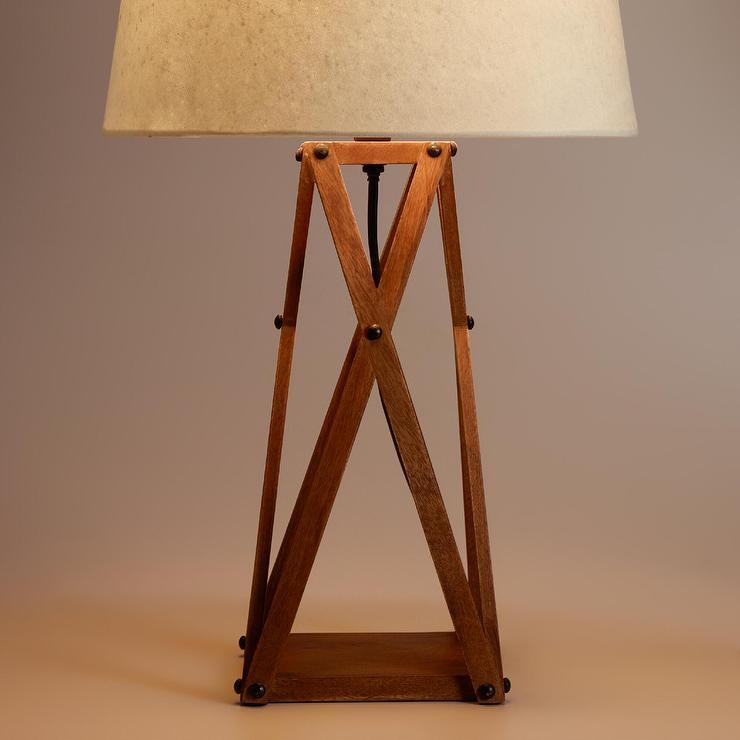 wood x base brown table lamp. Black Bedroom Furniture Sets. Home Design Ideas