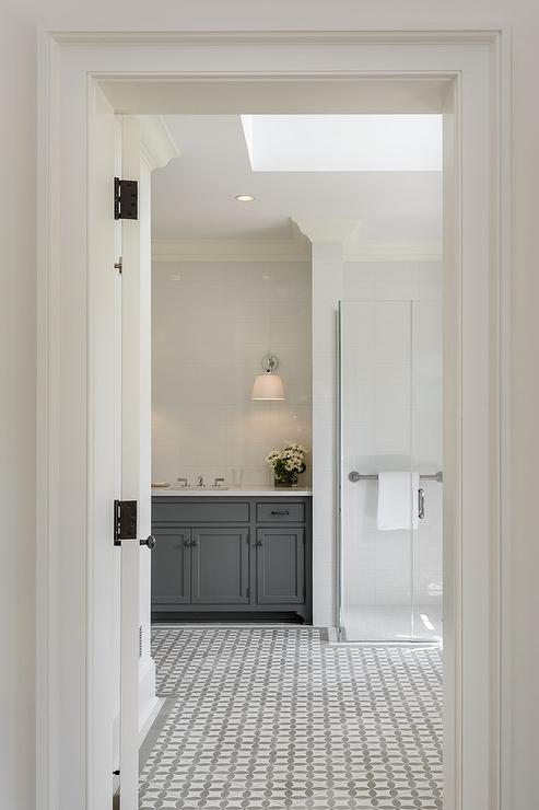 White And Gray Bathroom Floor Tiles Contemporary Bathroom