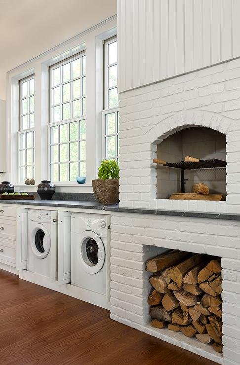 Kitchen with White Brick Pizza Oven - Transitional - Kitchen