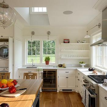 Kitchen with Hidden Stacked Washer and Dryer, Cottage, Kitchen