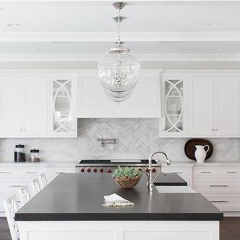 Kitchen with Marble Herringbone Cooktop Tiles, Transitional, Kitchen