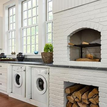 Kitchen with White Brick Pizza Oven, Transitional, Kitchen