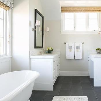 White Bathroom with Slate Floor, Transitional, Bathroom