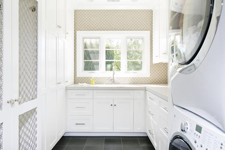 White and Taupe Laundry Rooms - Transitional - Laundry Room