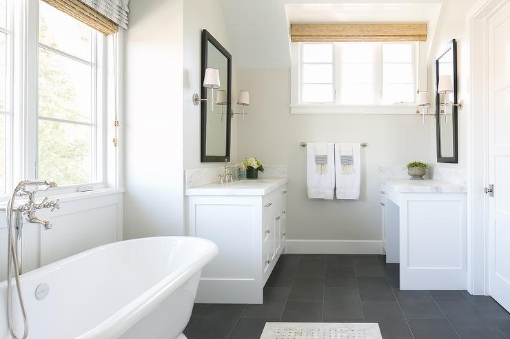 White Bathroom With Slate Floor